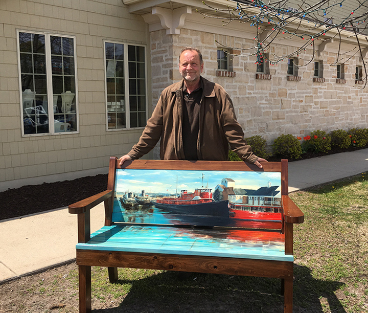 John Purves Fireboat Bench by the Bay