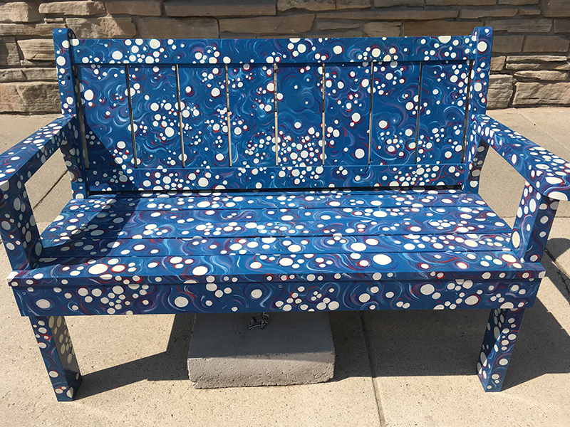 Bench painted blue with white bubbles, in Sturgeon Bay, Door County.