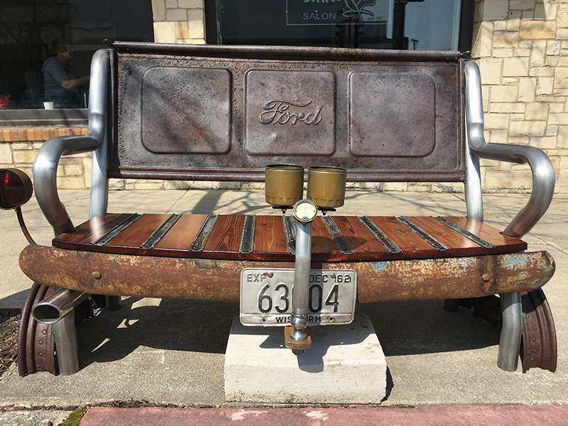 Bench constructed with parts of an old Ford in Sturgeon Bay, Door County.
