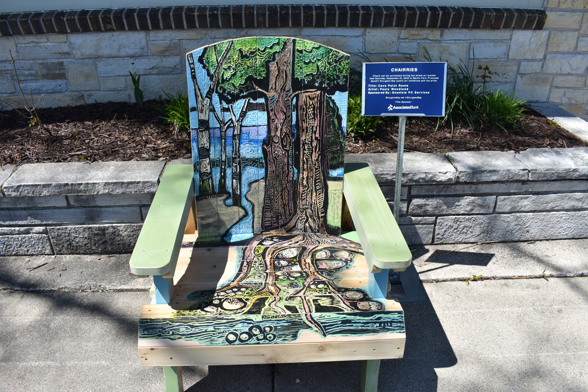 adirodack chair with hand carved and painted Door County coastal scene