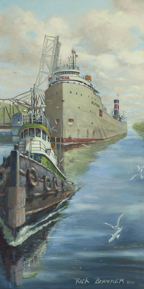 A painting of the ship Alpena in Sturgeon Bay, Door County.