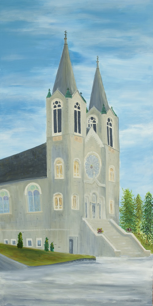 A painting of St. Joseph's Church in Sturgeon Bay, Door County.