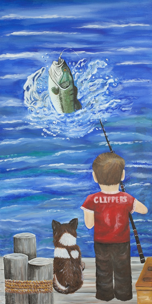 A painting of a boy and his dog fishing in Sturgeon Bay, Door County.