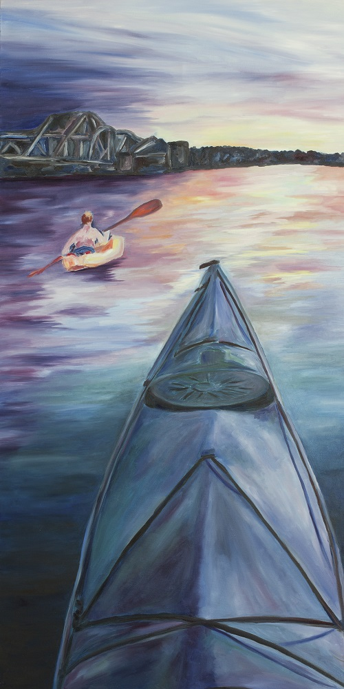 A painting of a kayak in front of the sunset in Sturgeon Bay, Door County.