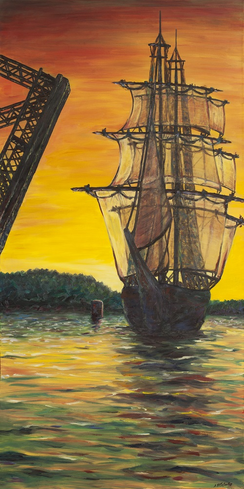 A painting of an old ship crossing Steel Bridge in Sturgeon Bay, Door County.