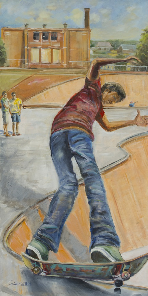 A painting of a child at the skate park in Sturgeon Bay, Door County.