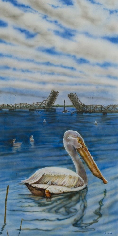 Painting of a pelican on the water in Sturgeon Bay, Door County.