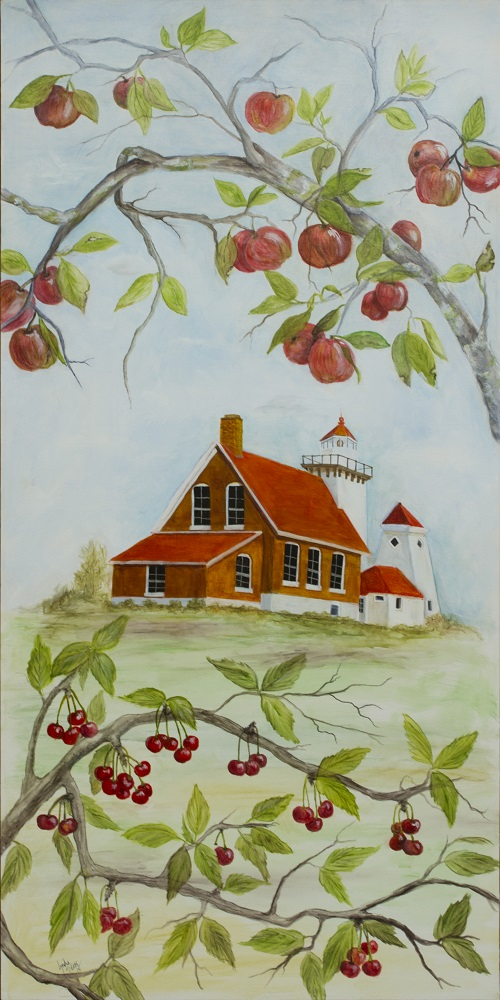 Painting of a house behind apples & cherries in Sturgeon Bay, Door County.