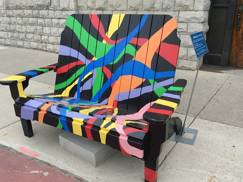 Colorfully painted bench in Sturgeon Bay, Door County.