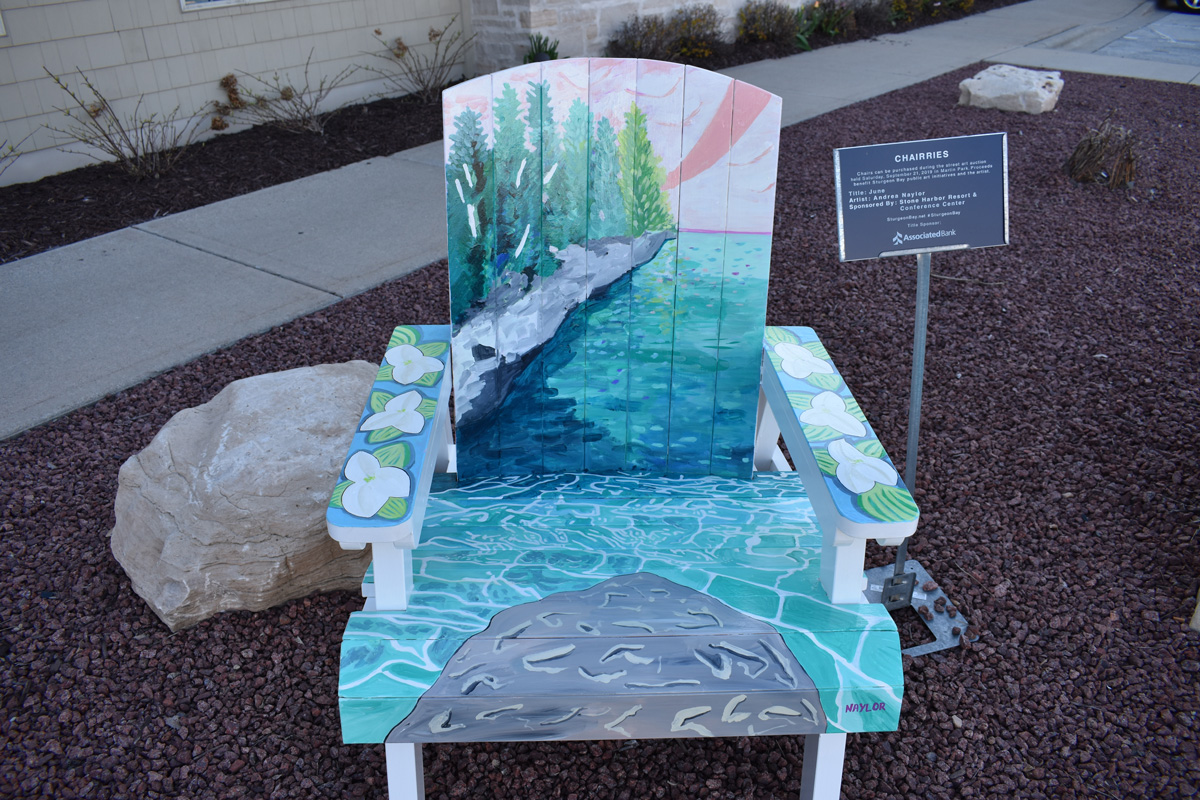 adirondack chair hand painted with Door County scene