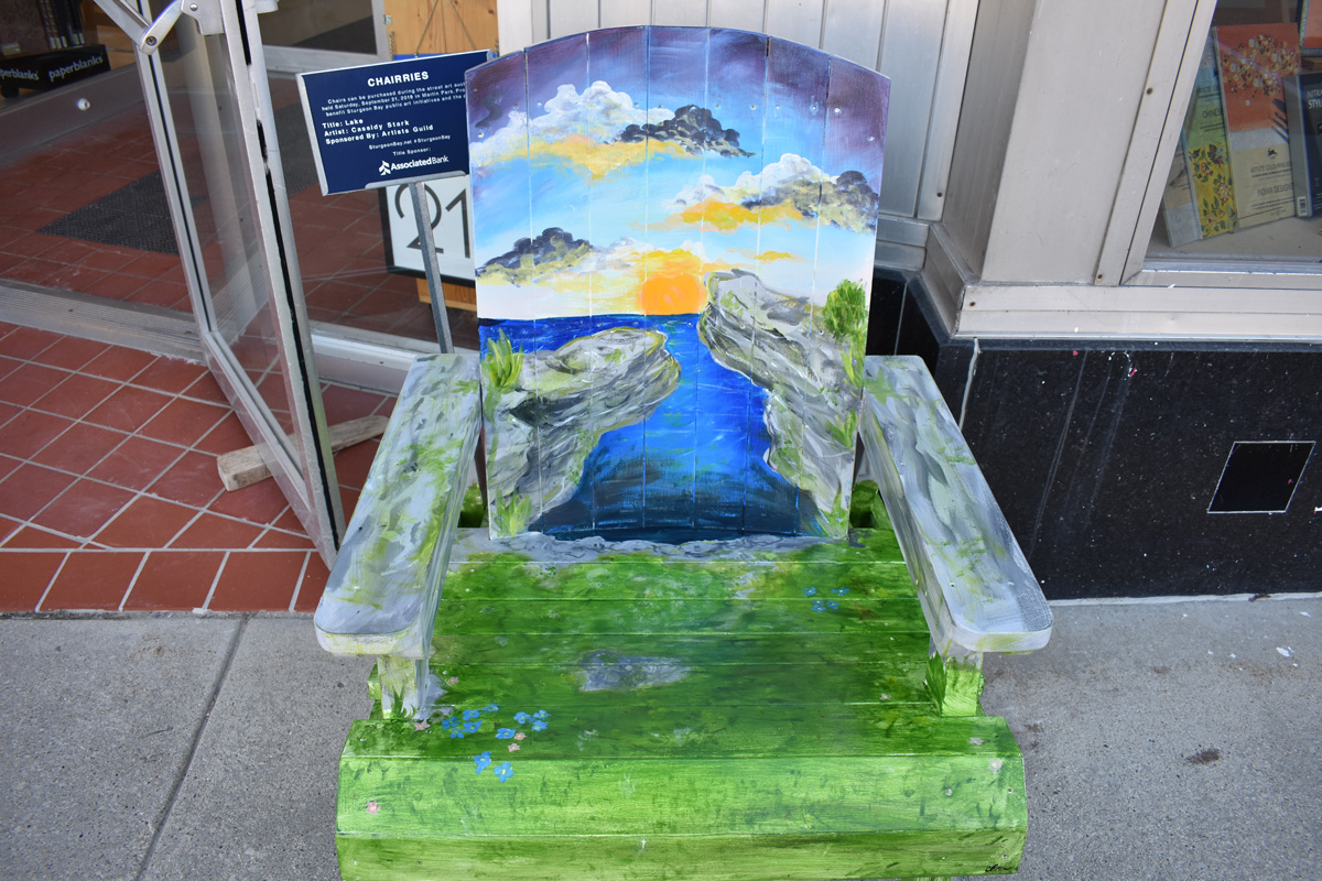 adirondack chair with hand painted Door County coastal scene
