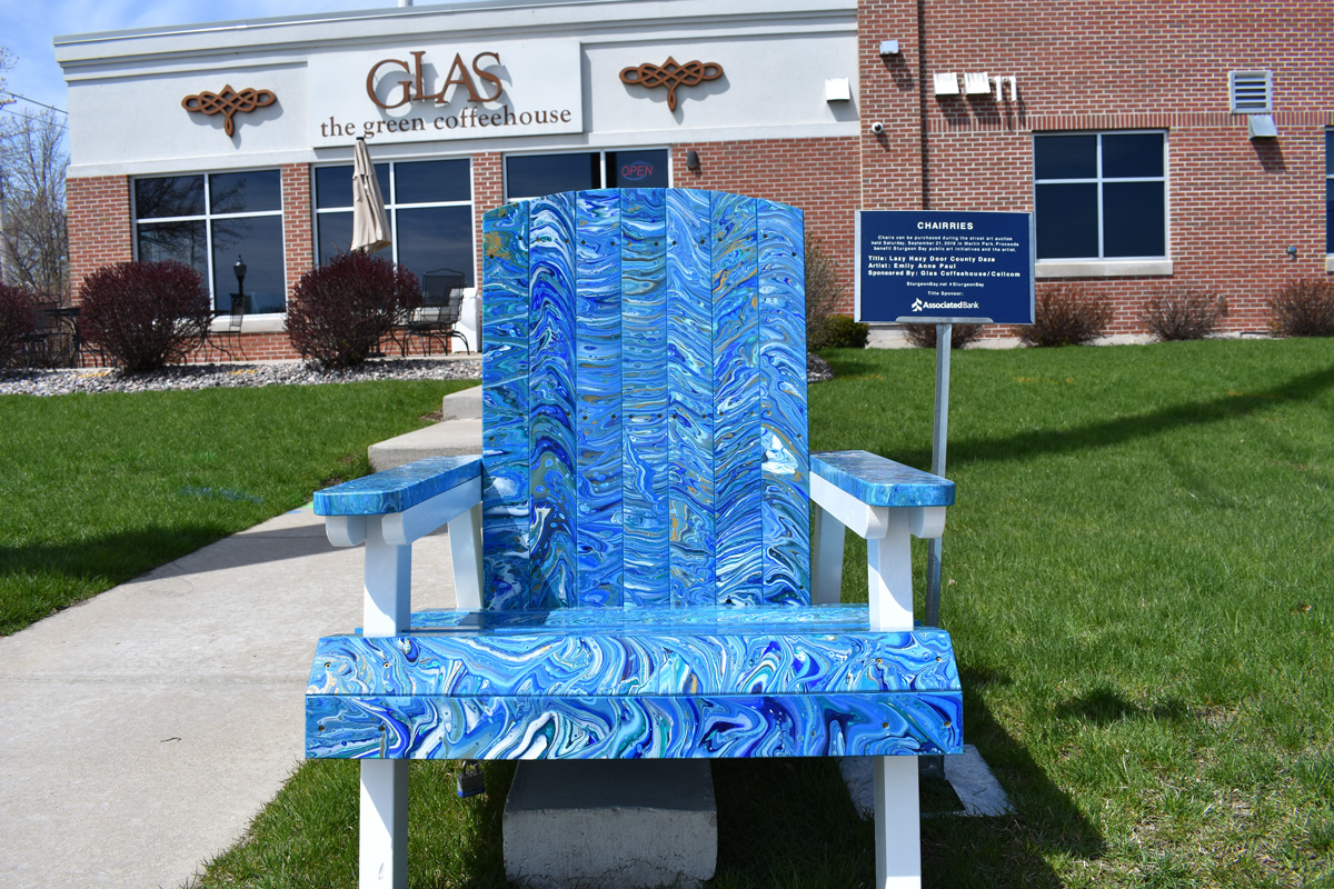adirondack chair decorated with acrylic pour method