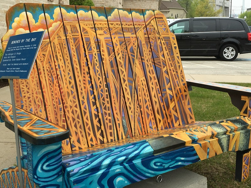 Bench decorated with bridge painting in Sturgeon Bay, Door County.