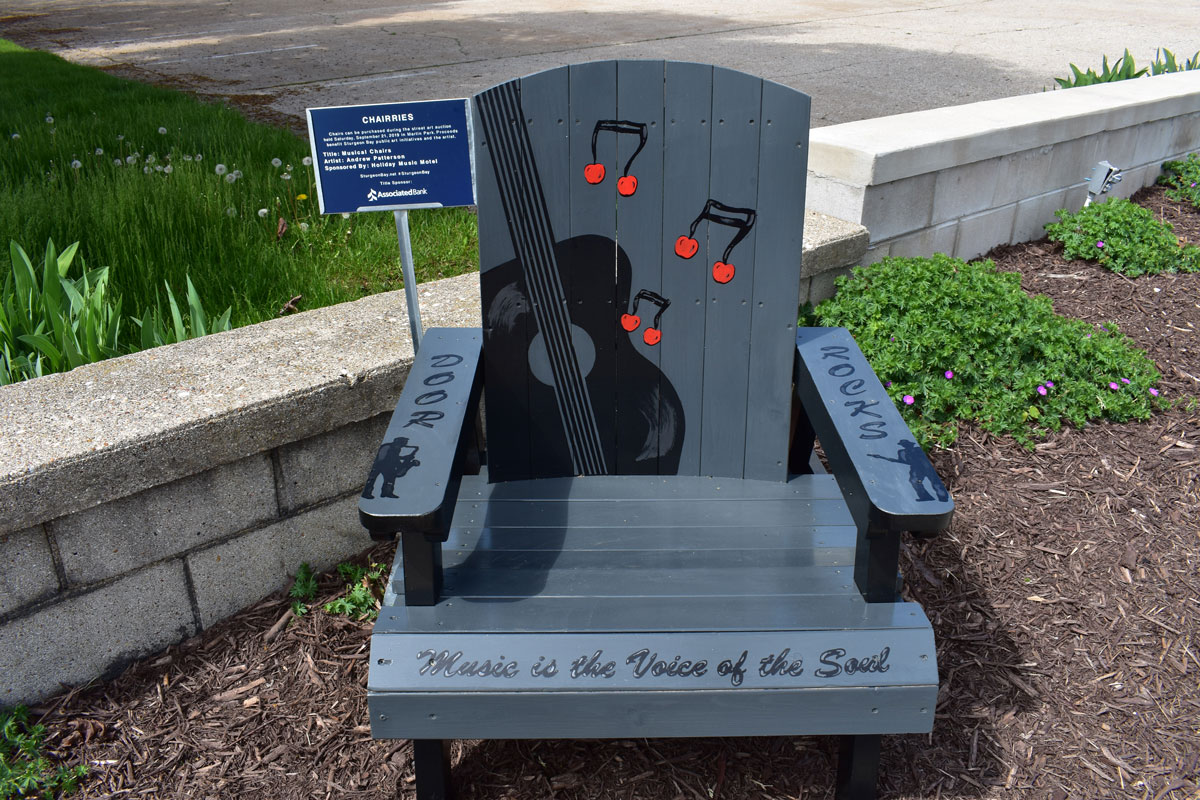 hand painted adirondack chair with musical theme