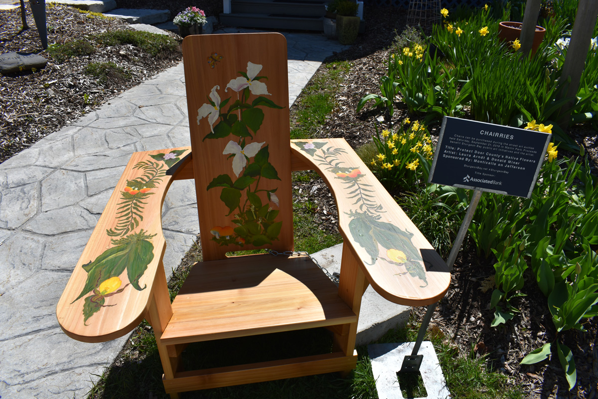 chair with hand painted wild flowers