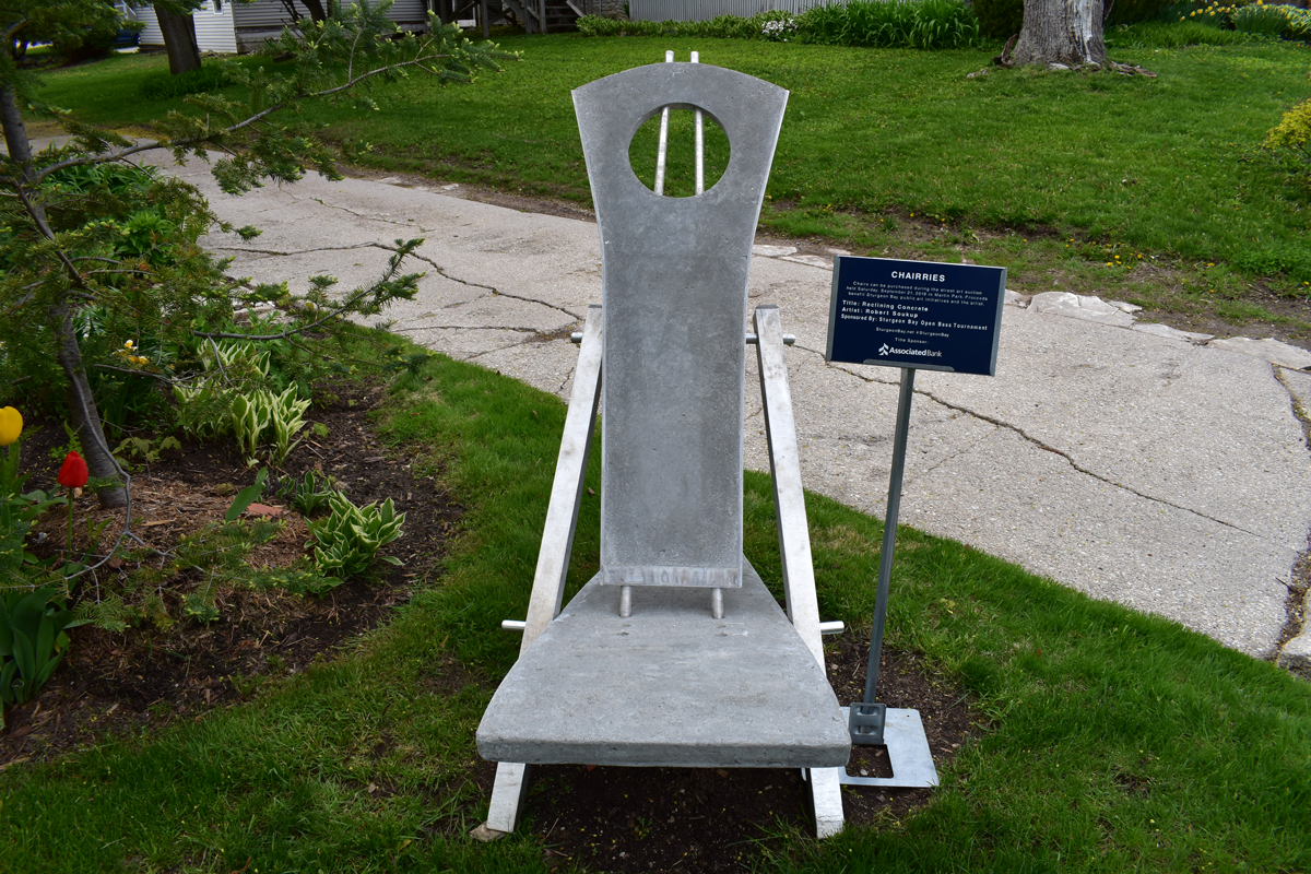 outdoor chair constructed from concrete