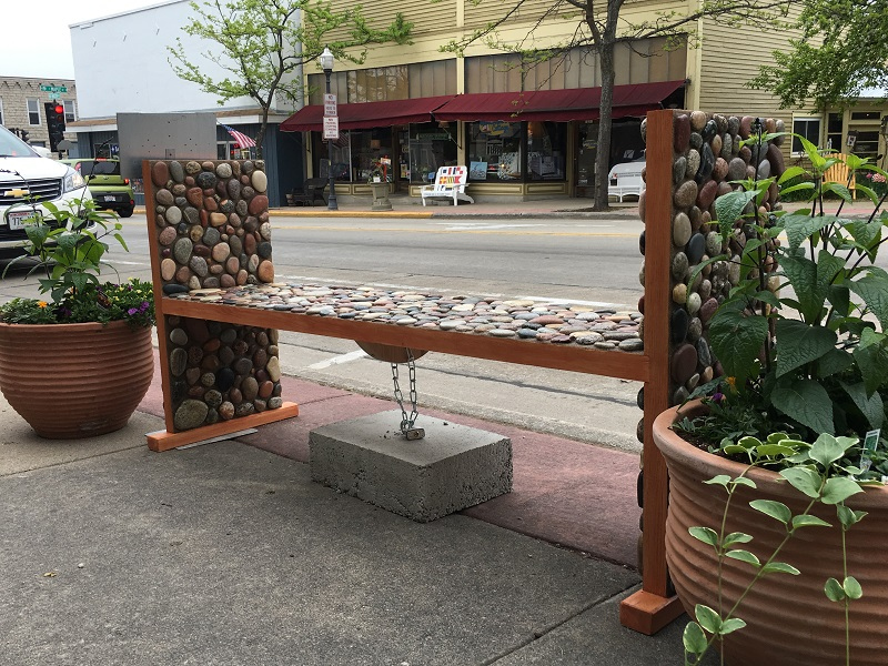 Bench constructed of wood and rocks in Sturgeon Bay, Door County.
