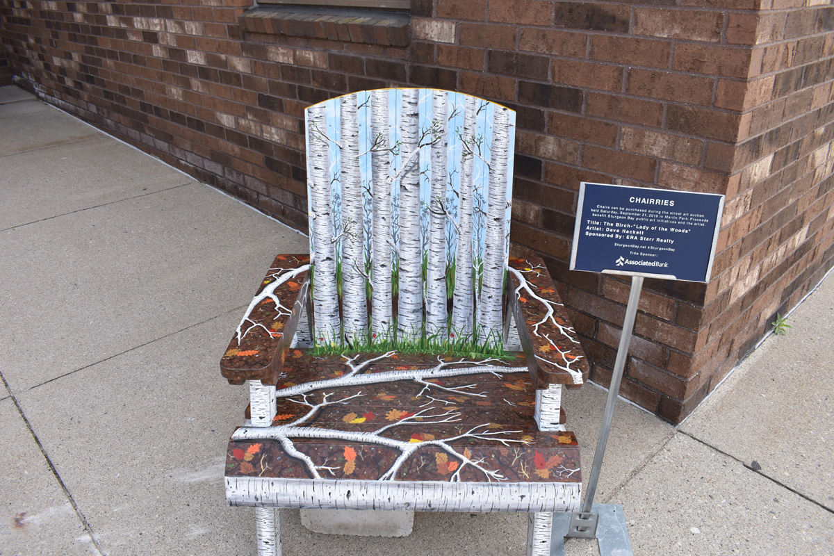 adirondack chair hand painted with birch trees