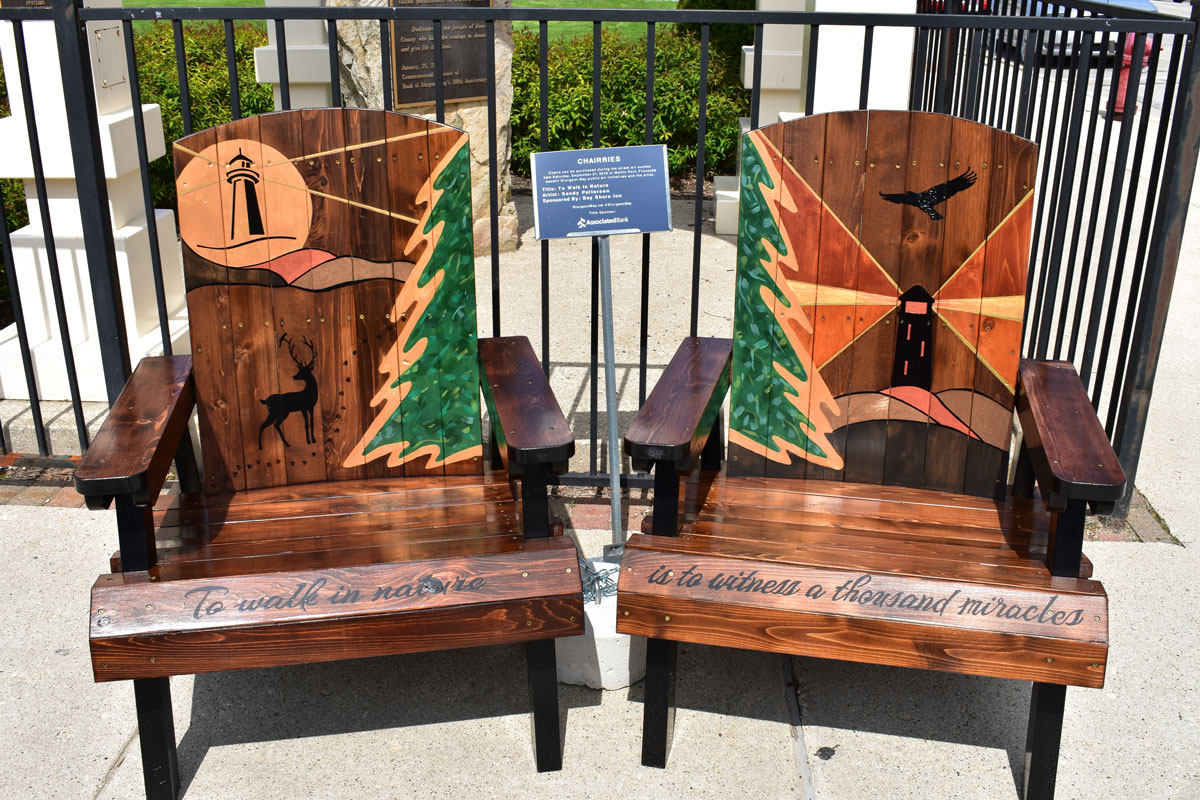 pair of adirondack chairs with hand crafted nature theme