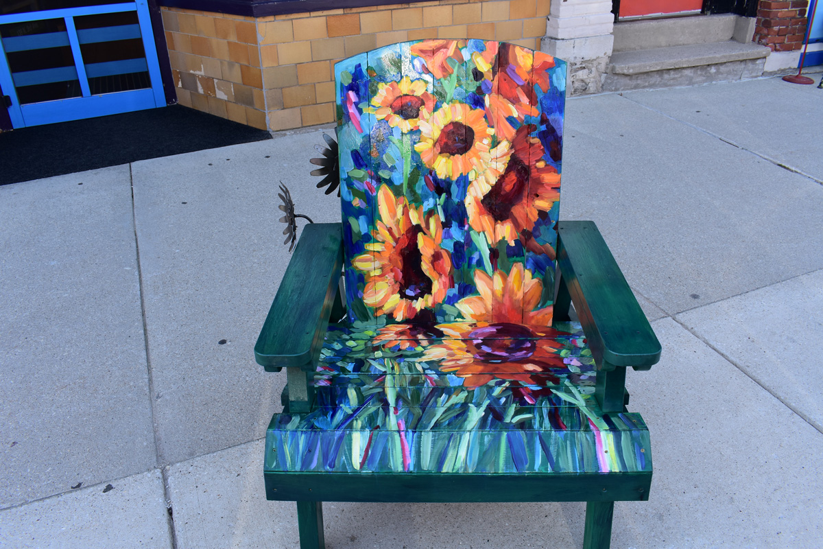 adirondack chair hand painted with Van Gogh style sunflowers